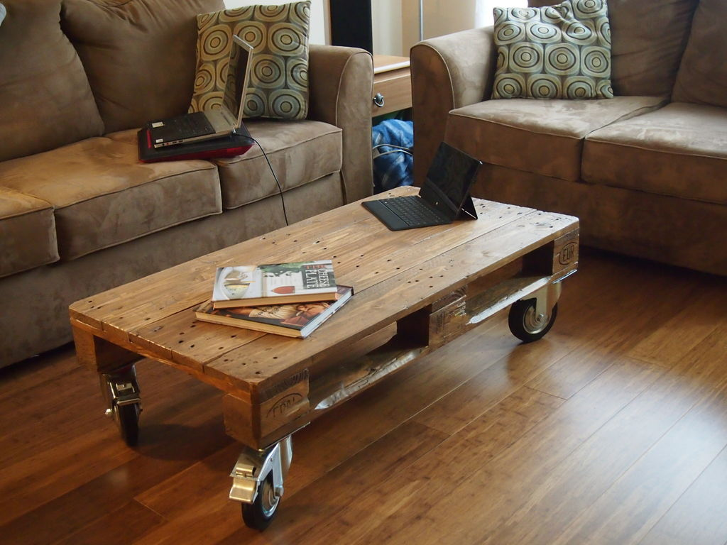 Pallet furniture coffee table - Rolling Pallet Coffee Table Jpg
